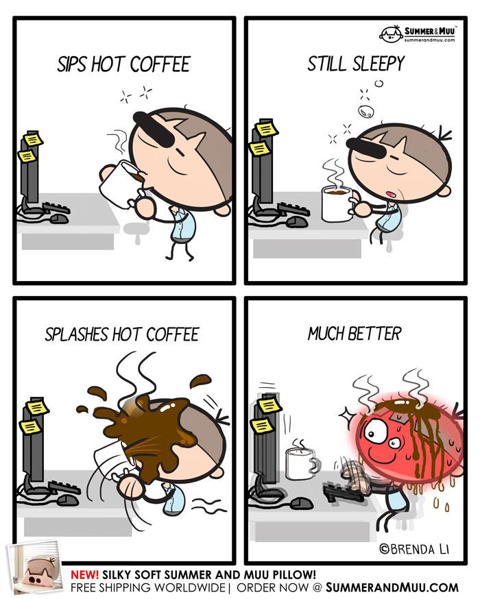 Worker drinking hot coffee at office comic