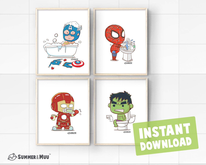 Set of 4 Captain America Spiderman Hulk Iron Man Mix ...
